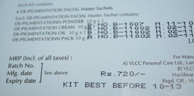 vlcc depigmentation facial kit 8