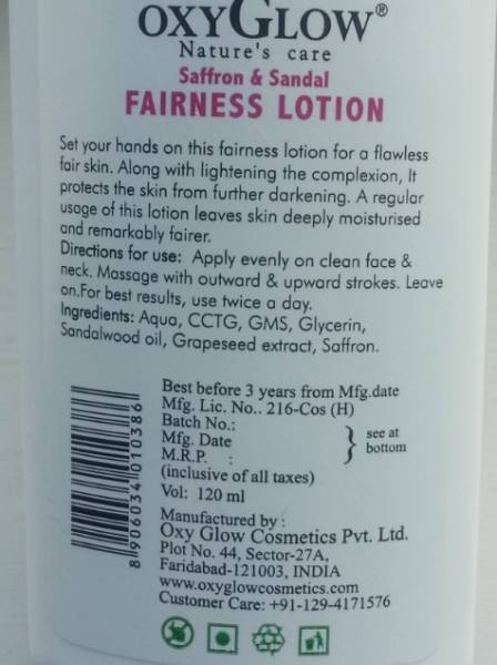 oxyglow saffron & sandal fairness lotion 5