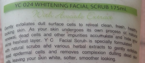 yc whitening facial scrub with Avocado extract review 4