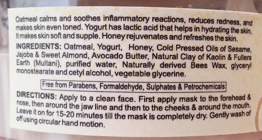 bio bloom skin care face pack oatmeal, yogurt, honey review 1