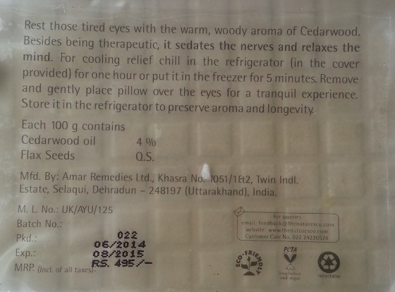 the nature's co cedarwood eye pillow review 3