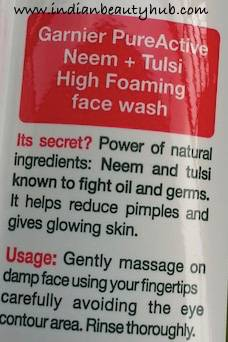 Garnier Pure Active Neem+Tulsi High Foaming Face Wash Review