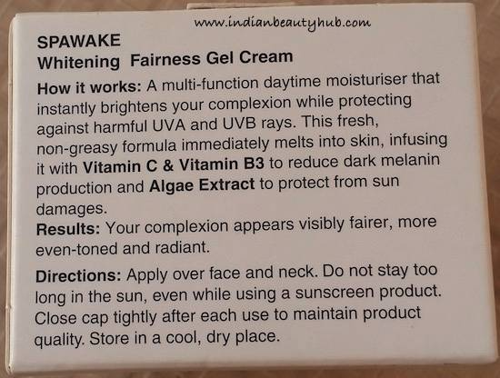 Spawake Whitening Fairness Gel Cream Review3