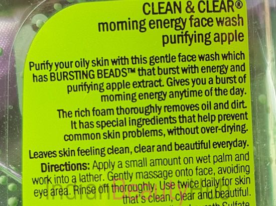 clean & clear morning energy purifying apple face wash review_5