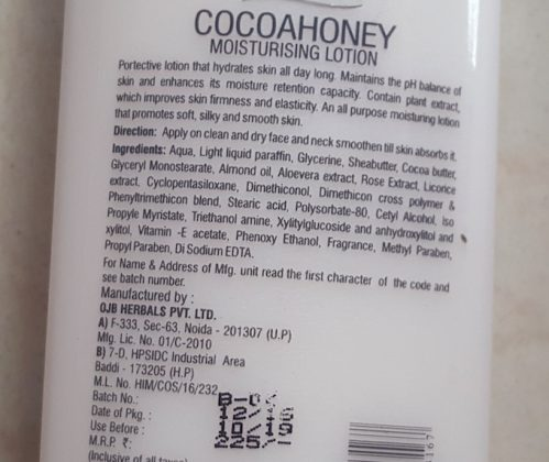 Oshea Herbals Cocoa Honey Moisturising Lotion Review
