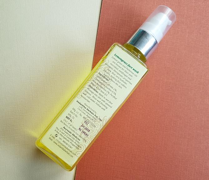 vedantika herbals lemongrass face wash review