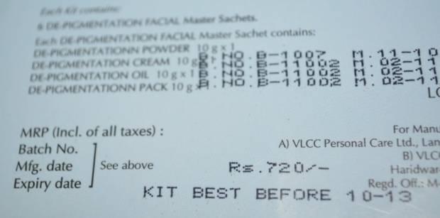 vlcc depigmentation facial kit 8