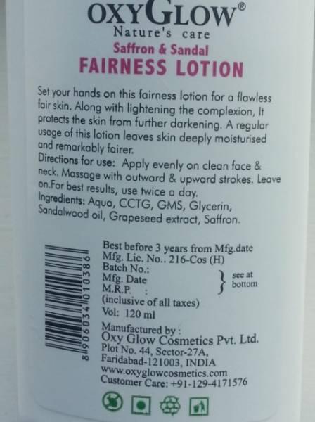 oxyglow saffron & sandal fairness lotion 5
