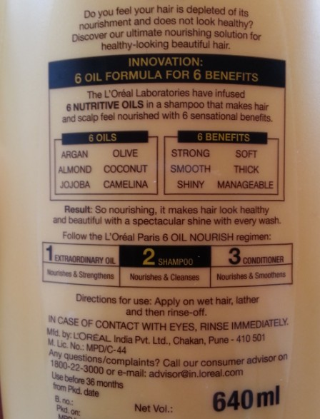 loreal 6 oil nourish shampoo 2