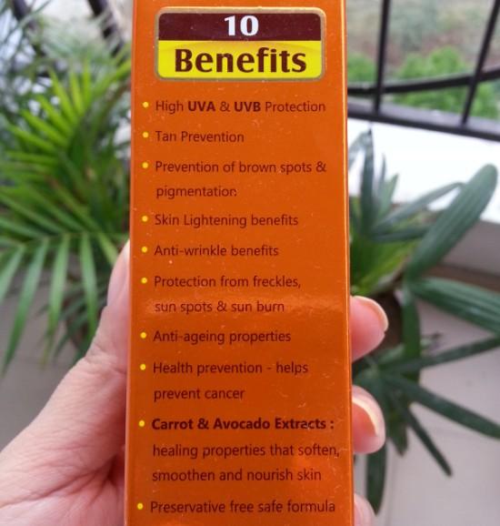 lotus herbals safe sun daily multi-function sunblock SPF70 review 4