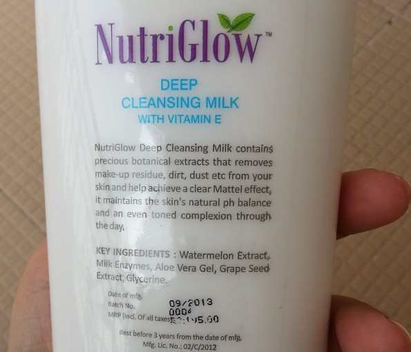 nutriglow deep cleansing milk review 3