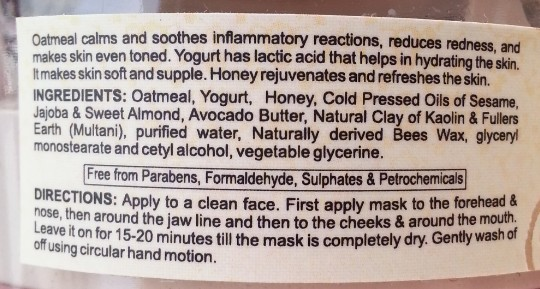 bio bloom skin care face pack oatmeal, yogurt, honey review 1