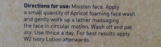 w2 (why wait) apricot face wash review 3