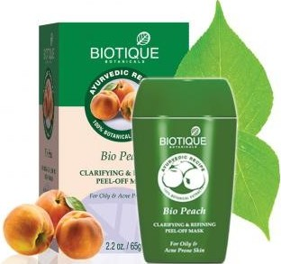 biotique bio peach clarifying & refining peel-off  face pack
