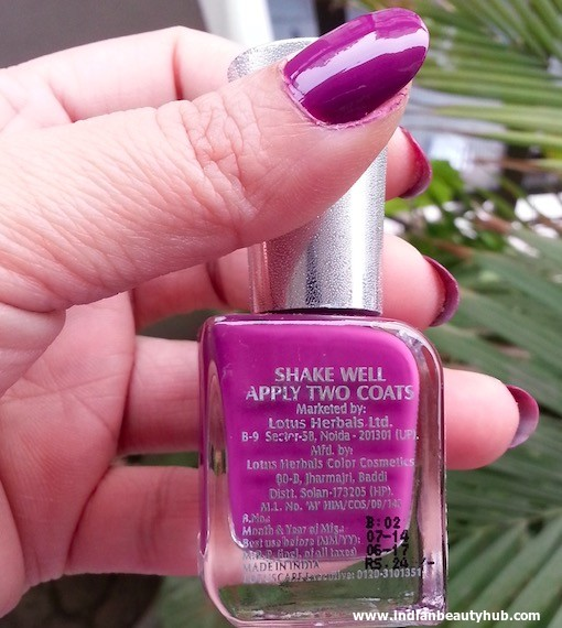 Lotus Herbals Ecostay Electric Grape Nail Review 3