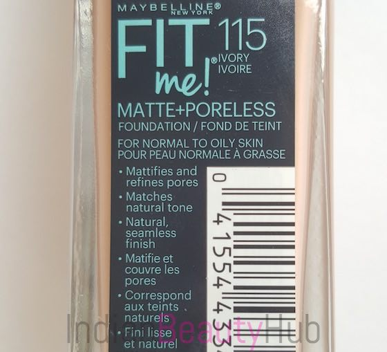 d86c121dec4 Maybelline Fit Me Matte + Poreless Foundation Review - Ivory 115 ...