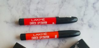 Lakme Enrich Lip Crayons candid coral, red stop