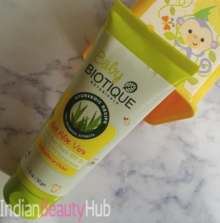 Baby Biotique Bio Aloe Vera Baby Sunblock SPF 20 Review