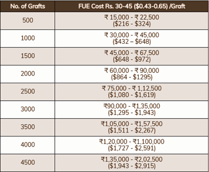FUE Hair Transplant Cost in India