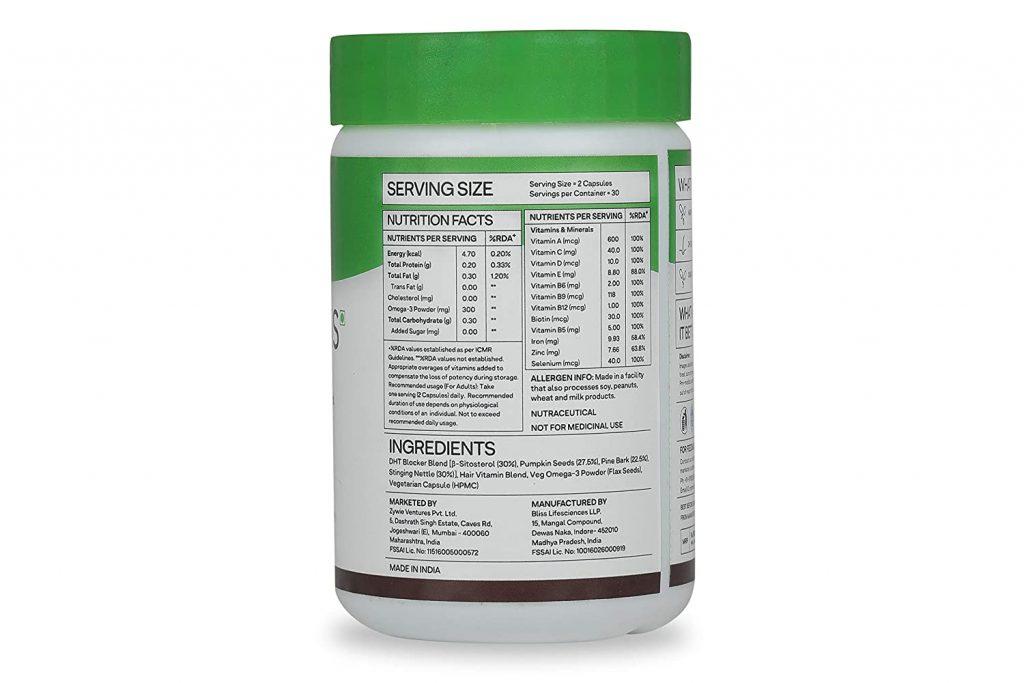 OZiva Hair Vitamins Ingredients